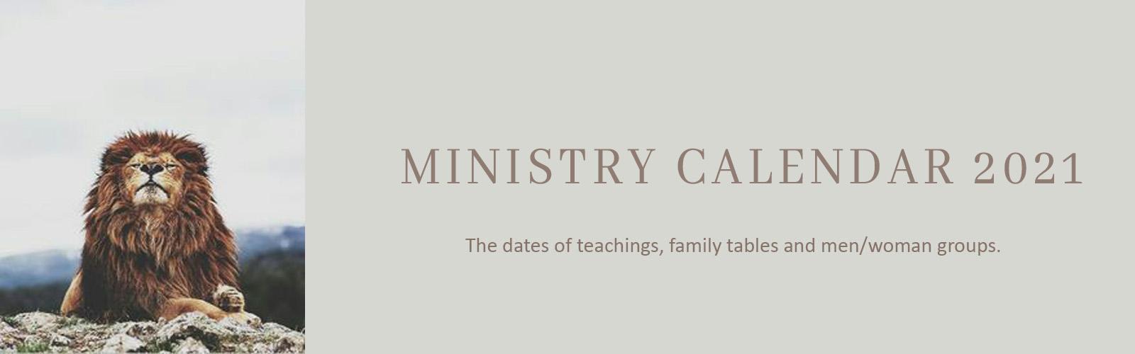 Ministry Calendar 2021